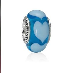 Rare Pandora charm 790657 Aqua Love Heart